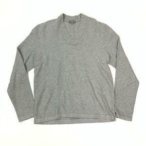 COS Heather Grey V-neck Long Sleeve Sweater Sz L